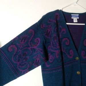 Vintage Pendleton 80s knit cardigan sweater wool
